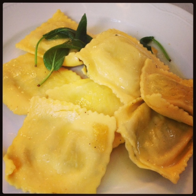 Ravioli with sage and butter sauce